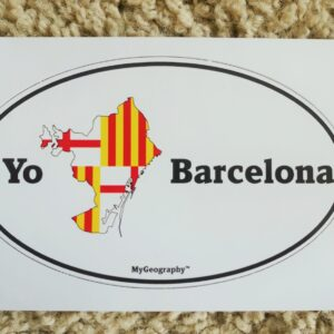 A bumper sticker of I love Barcelona with the boundary of the city and the flag