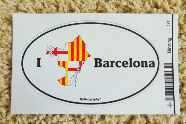 A picture of one of our Barcelona stickers with the colors of the flag
